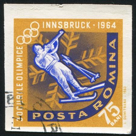 ROMANIA - CIRCA 1963: stamp printed by Romania, shows Biathlon, circa 1963 Stock Photo - 10634485