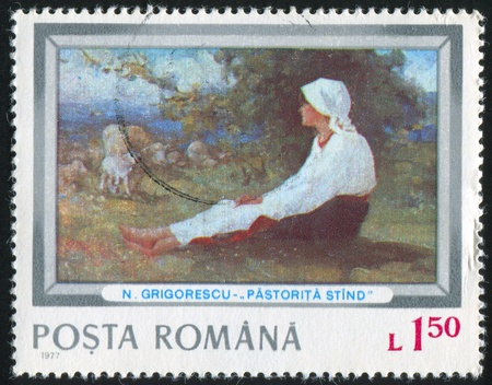 ROMANIA - CIRCA 1977: stamp printed by Romania, shows Shepherdess, by Nicolae Ion Grigorescu, circa 1977 photo
