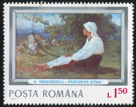 ROMANIA - CIRCA 1977: stamp printed by Romania, shows Shepherdess, by Nicolae Ion Grigorescu, circa 1977 photo
