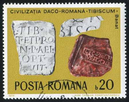 inscribed: ROMANIA - CIRCA 1976: stamp printed by Romania, shows Inscribed Stone Tablets, Banat, circa 1976