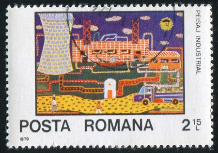 ROMANIA - CIRCA 1979: stamp printed by Romania, shows Industrial landscape, circa 1979 Stock Photo - 10634415