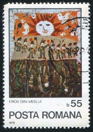 """vintage riffle: ROMANIA - CIRCA 1979: stamp printed by Romania, shows """"Heroes of Vaslui"""", circa 1979"""