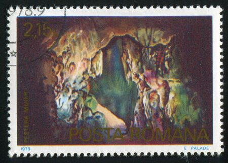 pyramid peak: ROMANIA - CIRCA 1978: stamp printed by Romania, shows Cave, circa 1978