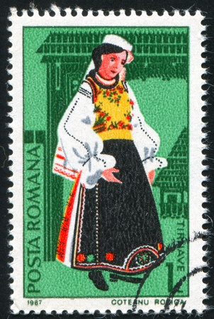 ROMANIA - CIRCA 1987: stamp printed by Romania, shows Folk Costumes, circa 1987 Stock Photo - 10634550