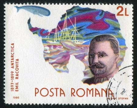 ROMANIA - CIRCA 1986: stamp printed by Romania, shows Emil Racovita, Antarctic expedition, circa 1986