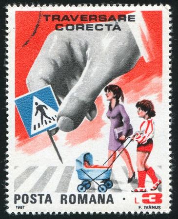 ROMANIA - CIRCA 1987: stamp printed by Romania, shows Sign Be aware of pedestrian crossings, circa 1987 photo