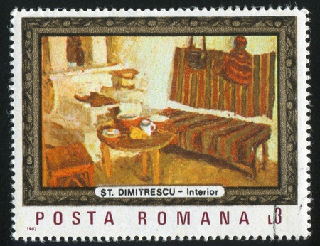 counterpane: ROMANIA - CIRCA 1987: stamp printed by Romania, shows Inside the Peasant Cottage, by S. Dimitrescu, circa 1987 Stock Photo