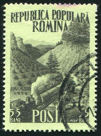 timberland: ROMANIA - CIRCA 1956: stamp printed by Romania, shows Logging train in timberland, circa 1956