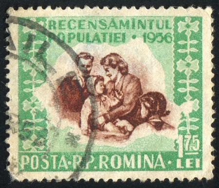 ROMANIA - CIRCA 1956: stamp printed by Romania, shows Family group, circa 1956