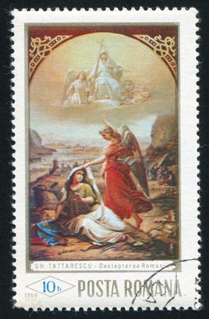 reveille: ROMANIA - CIRCA 1968: stamp printed by Romania, shows The Reveille of Romania, by Gheorghe Tattarescu, circa 1968