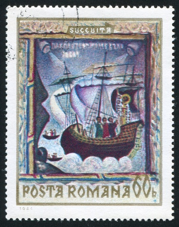 shrouds: ROMANIA - CIRCA 1969: stamp printed by Romania, shows North Moldavian Monastery Frescoes, St. Nicholas (scene from his life), Sucevita, circa 1969 Stock Photo