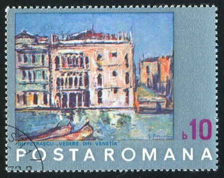 ROMANIA - CIRCA 1972: stamp printed by Romania, shows Painting of Venice by N. Petrascu, circa 1972 Stock Photo - 10634438