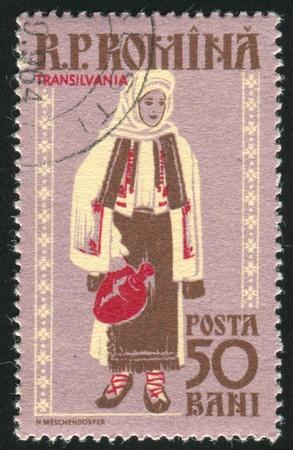 ROMANIA - CIRCA 1958: stamp printed by Romania, shows Regional Costumes, Transylvania, circa 1958 Stock Photo - 10634538