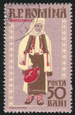 ROMANIA - CIRCA 1958: stamp printed by Romania, shows Regional Costumes, Transylvania, circa 1958 Stock Photo - 10634538