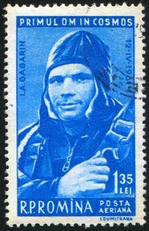 gagarin: ROMANIA - CIRCA 1961: stamp printed by Romania, shows Yuri A. Gagarin, circa 1961 Editorial