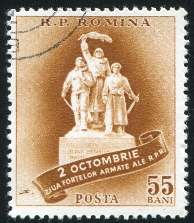 jackboots: ROMANIA - CIRCA 1958: stamp printed by Romania, shows Armed Forces Monument, circa 1958 Stock Photo