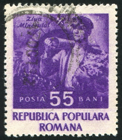 ROMANIA - CIRCA 1952: stamp printed by Romania, shows Miner, circa 1952 Stock Photo - 10634467