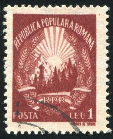 ROMANIA - CIRCA 1953: stamp printed by Romania, show Romania arms, circa 1953. photo