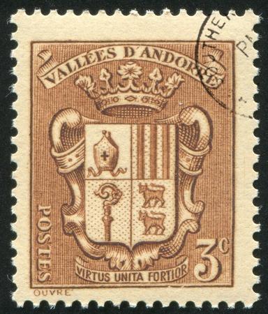 ANDORRA - CIRCA 1938: stamp printed by Andorra, shows arms, circa 1938. photo