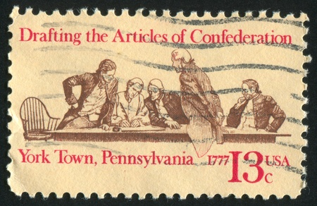 confederation: UNITED STATES - CIRCA 1977: stamp printed by Umited States, shows members of Continental Congress in Conference, circa 1977