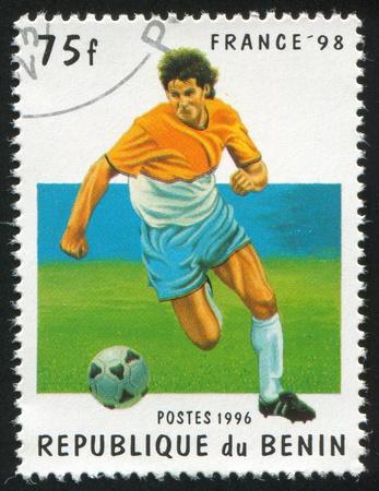 benin: BENIN - CIRCA 1996: stamp printed by Benin, shows football, circa 1996.