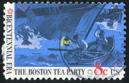 boston tea party: UNITED STATES OF AMERICA-CIRCA 1973: stamp printed by United States of America, shows Boston tea party