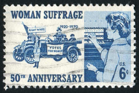 UNITED STATES - CIRCA 1970: stamp printed by United States of America, shows  women suffragettes, circa 1970