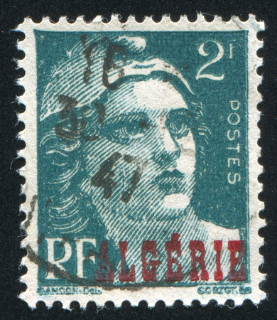 marianne: ALGERIA  CIRCA 1947: stamp printed by France, shows Marianne, circa 1947 Stock Photo