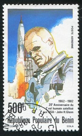 BENIN - CIRCA 1982: stamp printed by Benin, shows John Glenn, circa 1982. Stock Photo - 10717966