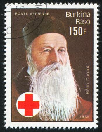 henri: BURKINA FASO - CIRCA 1985: stamp printed by Burkina Faso, shows Henri Dunant, circa 1985.