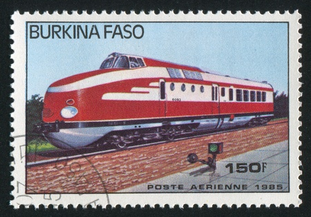 BURKINA FASO - CIRCA 1985: stamp printed by Burkina Faso, shows locomotive, circa 1985. Stock Photo - 10717860