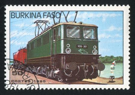BURKINA FASO - CIRCA 1985: stamp printed by Burkina Faso, shows locomotive, circa 1985. Stock Photo - 10718368