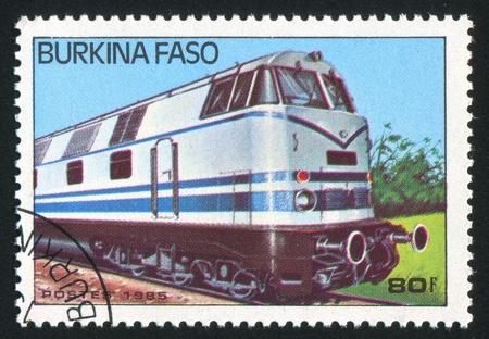 BURKINA FASO - CIRCA 1985: stamp printed by Burkina Faso, shows locomotive, circa 1985. Stock Photo - 10717865