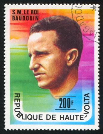 baudouin: BURKINA FASO - CIRCA 1977: stamp printed by Burkina Faso, shows King Baudouin of Belgium, circa 1977.