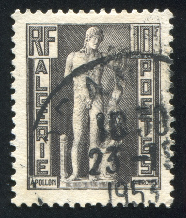 ALGERIA CIRCA 1952: stamp printed by Algeria, shows Apollo of Cherchell, circa 1952 Stock Photo - 10755963