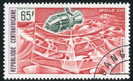 CENTRAL AFRICAN REPUBLIC - CIRCA 1973: stamp printed by Central African Republic, shows Apollo 17 US moon mission, circa 1973. Stock Photo - 10754920