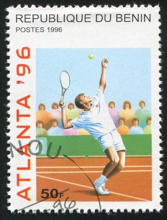 BENIN CIRCA 1996: stamp printed by Benin, shows Tennis, circa 1996 Stock Photo - 10792475