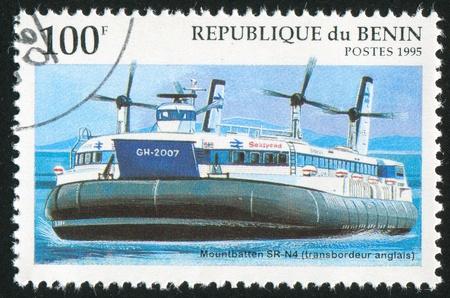 wheelhouse: BENIN CIRCA 1995: stamp printed by Benin, shows Hovercraft Mountbatten, circa 1995