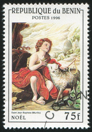 murillo: BENIN CIRCA 1996: stamp printed by Benin, shows St. John the Baptist as a Child, by Murillo, circa 1996 Stock Photo