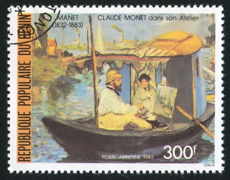 monet: BENIN CIRCA 1982: stamp printed by Benin, shows Monet in Boat, by Claude Monet, circa 1982 Stock Photo