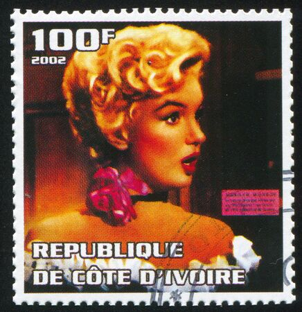 IVORY COAST - CIRCA 2002: stamp printed by Ivory Coast, shows Marilyn Monroe, circa 2002.