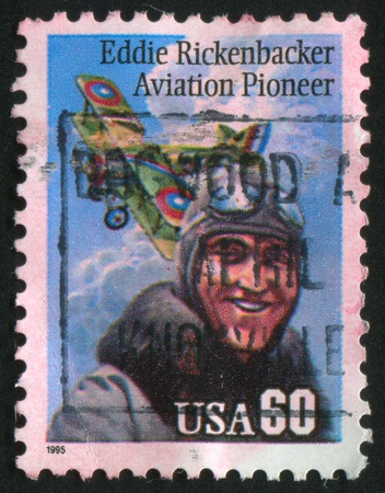 UNITED STATES - CIRCA 1995: stamp printed by United States of America, shows Eddie Rickenbacker Aviation Pioneer, circa 1995 Stock Photo - 10792644