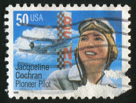 UNITED STATES - CIRCA 1996: stamp printed by United States of America, shows Jaqueline Cochran Pioneer Pilot, circa 1996 Stock Photo - 10792608