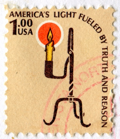 utterance: UNITED STATES - CIRCA 1978: stamp printed by United States of America, shows Rush Lamp and Candle Holder, circa 1978