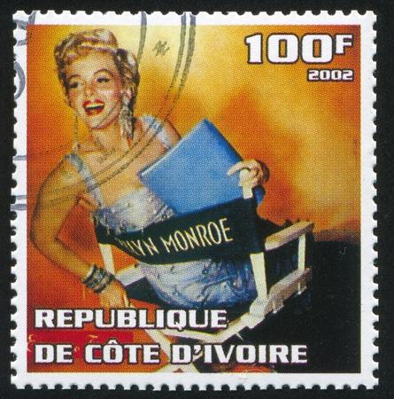 marilyn: IVORY COAST - CIRCA 2002: stamp printed by Ivory Coast, shows Marilyn Monroe, circa 2002.
