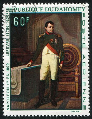 napoleon i: DAHOMEY - CIRCA 1969: stamp printed by Dahomey, shows  Napoleon I in 1809, by Robert J. Lefevre, circa 1969.