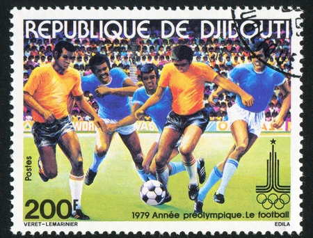 DJIBOUTI - CIRCA 1979: stamp printed by Djibouti, shows soccer, circa 1979