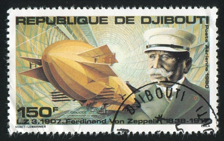graf: DJIBOUTI - CIRCA 1980: stamp printed by Djibouti, shows Graf Zeppelin, circa 1980