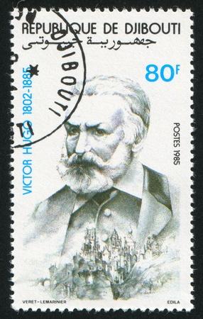 hugo: DJIBOUTI - CIRCA 1980: stamp printed by Djibouti, shows Victor Hugo, circa 1980