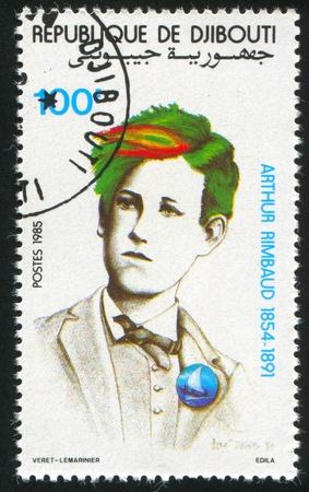 arthur: DJIBOUTI - CIRCA 1985: stamp printed by Djibouti, shows Arthur Rimbaud, circa 1985 Editorial
